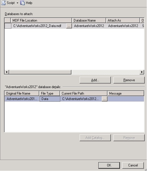 SQL Server 2012 - Attach Database